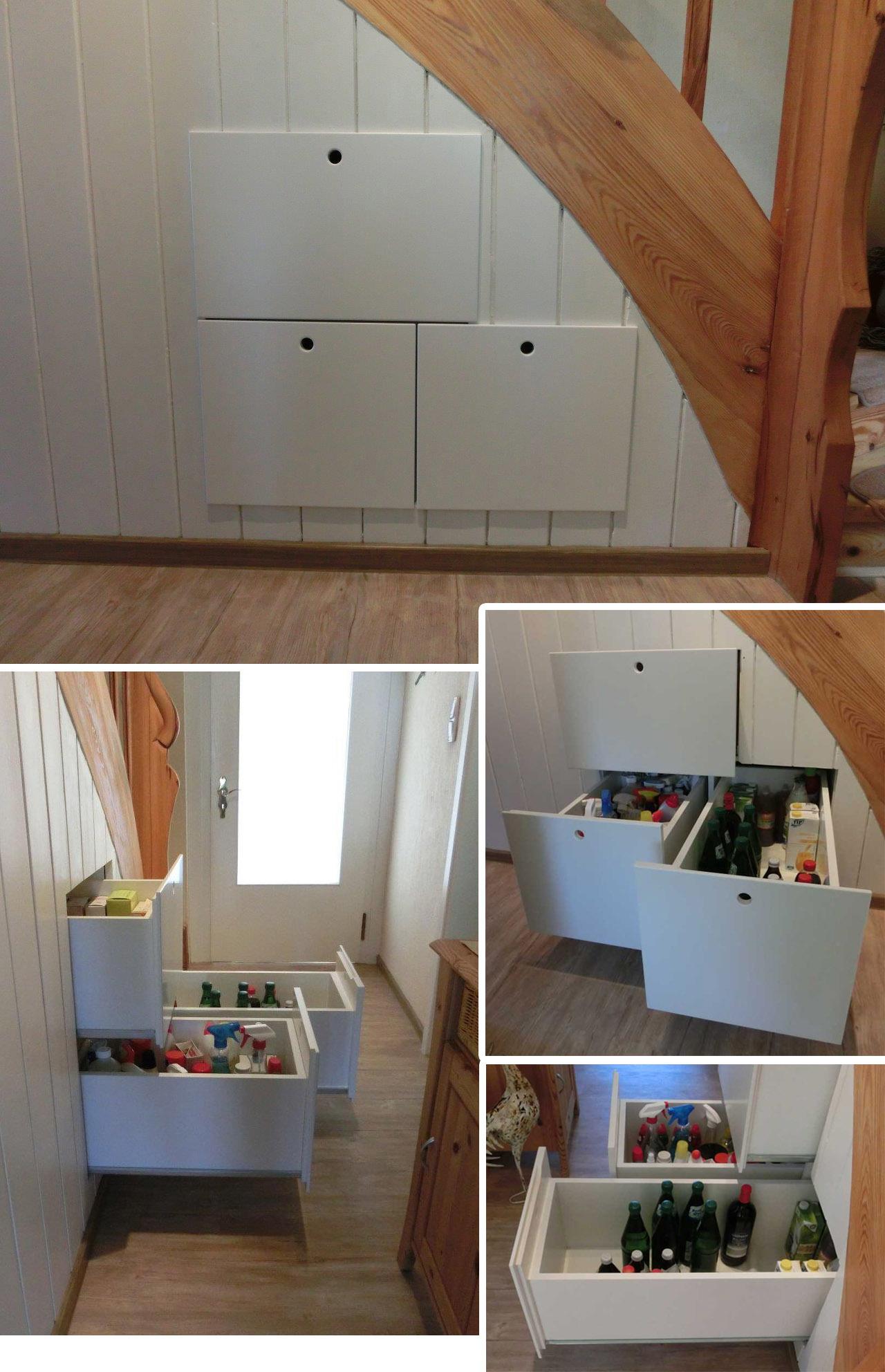 Schubladen unter Treppenaufgang - Tiefe 100 mm
